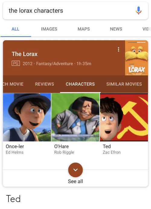 The Lorax Characters All Images Maps News Vid The Lorax Pg 2012 Fantasyadventure 1h 35m Lorax H Movie Reviews Characters Similar Movies Once Ler Ed Helms O Hare Rob Riggle Ted Zac Efron See