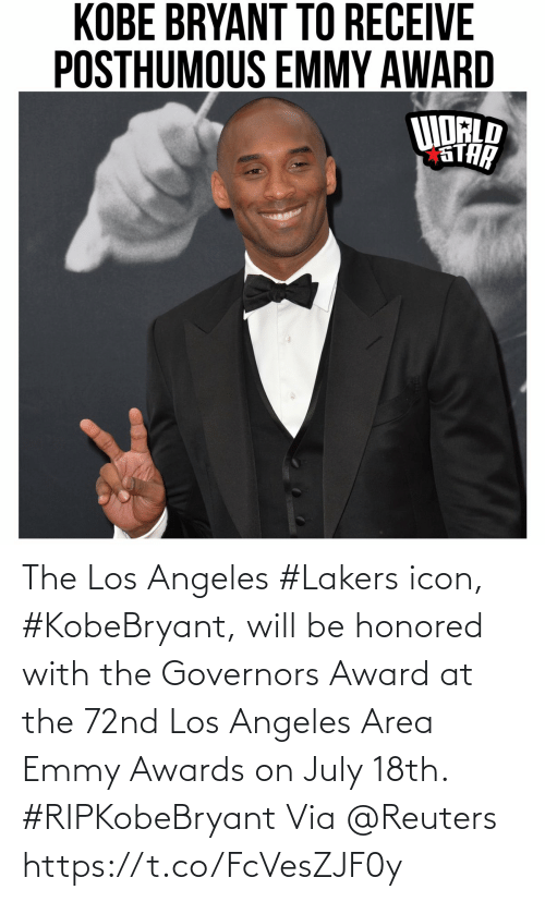 Los Angeles Lakers, Los-Angeles-Lakers, and Los Angeles: The Los Angeles #Lakers icon, #KobeBryant, will be honored with the Governors Award at the 72nd Los Angeles Area Emmy Awards on July 18th. #RIPKobeBryant Via @Reuters https://t.co/FcVesZJF0y