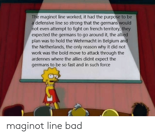 Bad, Belgium, and Work: The maginot line worked, it had the purpose to be  a defensive line so strong that the germans would  not even attempt to fight on french territory, they  expected the germans to go around it, the allied  plan was to hold the Wehrmacht in Belgium and  the Netherlands, the only reason why it did not  work was the bold move to attack through the  ardennes where the allies didnt expect the  germans to be so fast and in such force maginot line bad