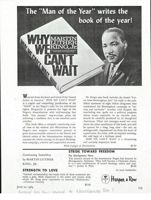 The Man of the Year Writes the Book of the Year! MARTIN LUTHER KING