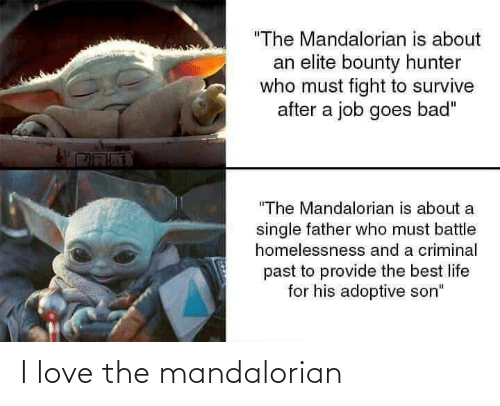 """Bad, Life, and Love: """"The Mandalorian is about  an elite bounty hunter  who must fight to survive  after a job goes bad""""  """"The Mandalorian is about a  single father who must battle  homelessnesss and a criminal  past to provide the best life  for his adoptive son"""" I love the mandalorian"""