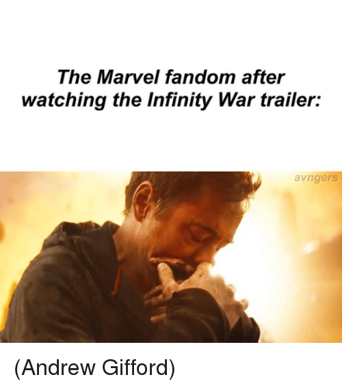 Memes, Infinity, and Marvel: The Marvel fandom after  watching the Infinity War trailer:  avngers (Andrew Gifford)