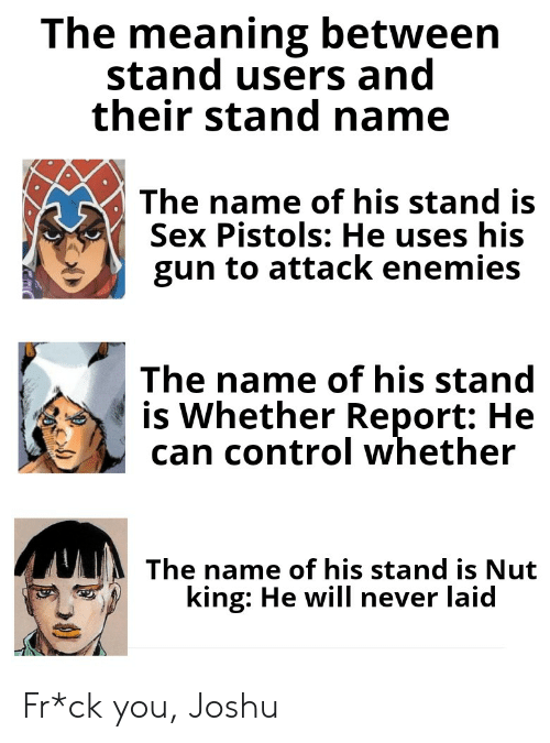 Sex, Control, and Meaning: The meaning between  stand users and  their stand name  The name of his stand is  Sex Pistols: He uses his  gun to attack enemies  The name of his stand  is Whether Report: He  can control whether  The name of his stand is Nut  king: He will never laid Fr*ck you, Joshu