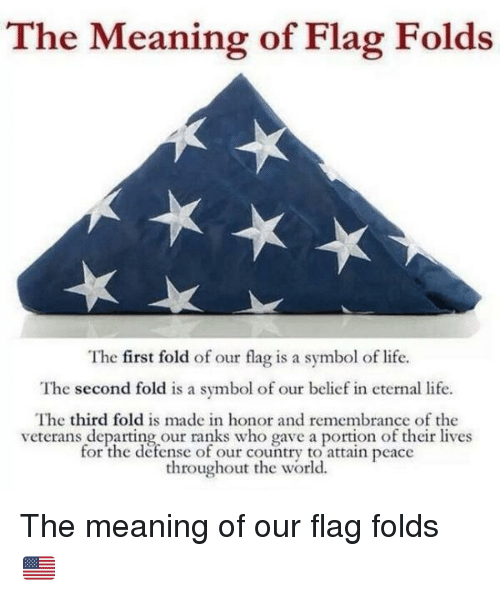 The Meaning Of Flag Folds The First Fold Of Our Flag Is A Symbol Of