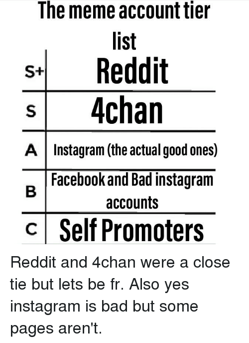 The Meme Account Tier List SReddift S 4chan a |Instagram the Actual