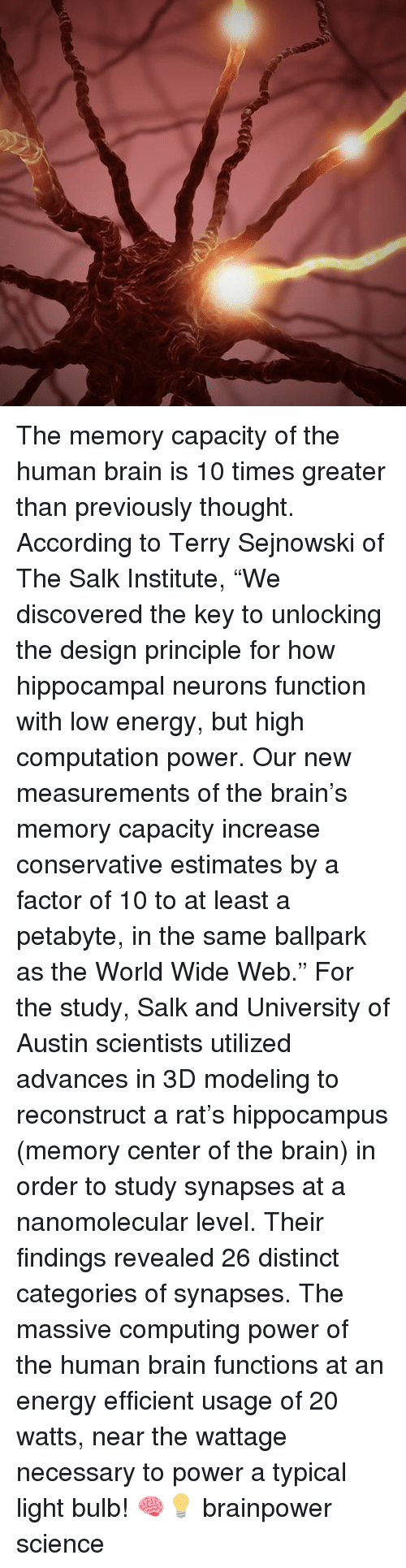"Energy, Memes, and Brain: The memory capacity of the human brain is 10 times greater than previously thought. According to Terry Sejnowski of The Salk Institute, ""We discovered the key to unlocking the design principle for how hippocampal neurons function with low energy, but high computation power. Our new measurements of the brain's memory capacity increase conservative estimates by a factor of 10 to at least a petabyte, in the same ballpark as the World Wide Web."" For the study, Salk and University of Austin scientists utilized advances in 3D modeling to reconstruct a rat's hippocampus (memory center of the brain) in order to study synapses at a nanomolecular level. Their findings revealed 26 distinct categories of synapses. The massive computing power of the human brain functions at an energy efficient usage of 20 watts, near the wattage necessary to power a typical light bulb! 🧠💡 brainpower science"