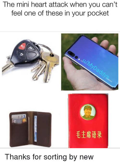 Heart, Heart Attack, and Mini: The mini heart attack when you can't  feel one of these in your pocket  毛主席语录