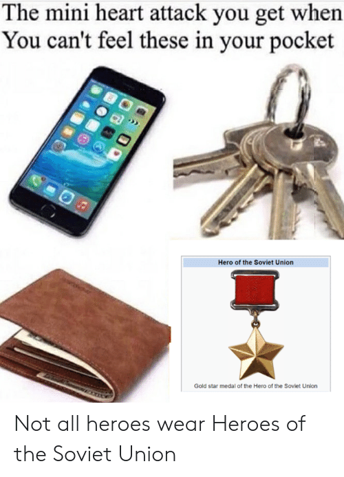 Reddit, Heart, and Heroes: The mini heart attack you get when  You can't feel these in your pocket  Hero of the Soviet Union  Gold star medal of the Hero of the Soviet Union Not all heroes wear Heroes of the Soviet Union