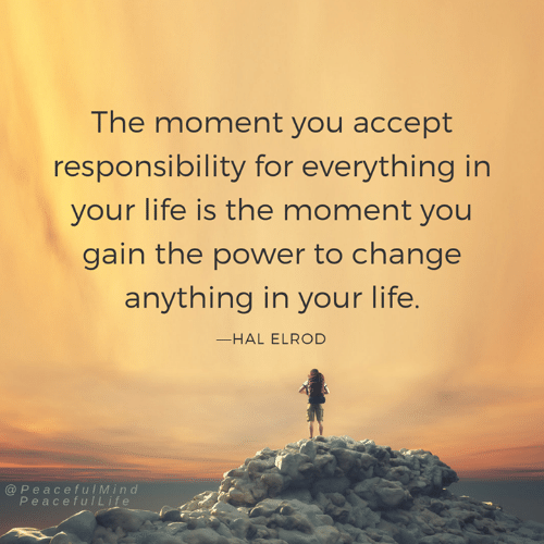 Life, Memes, and Power: The moment you accept  responsibility for everything in  your life is the moment you  gain the power to change  anything in your life  -HAL ELROD  @ PeacefulMind  PeacefulLife