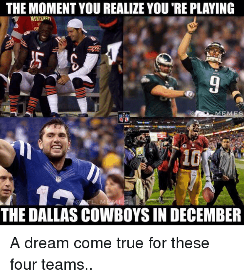 A Dream, Dallas Cowboys, and Football: THE MOMENT YOU REALIZE YOU'REPLAYING  THE DALLAS COWBOYS IN DECEMBER A dream come true for these four teams..