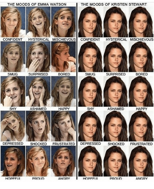 Bored, Emma Watson, and Memes: THE MOODS OF EMMA WATSON  THE MOODS OF KRISTEN STEWART  CONFIDENT HYSTERICAL MISCHIEVOUS CONFIDENT HYSTERICAL MISCHIEVOUS  SMUG  SURPRISED  BORED  SMUG  SURPRISED  BORED  SHY  ASHAMED  HAPPY  SHY  ASHAMED  HAPPY  DEPRESSED SHOCKED FRUSTRATED DEPRESSED SHOCKED FRUSTRATED  HOPFFUI  ANGRY  HOPFFUl  ANGRY