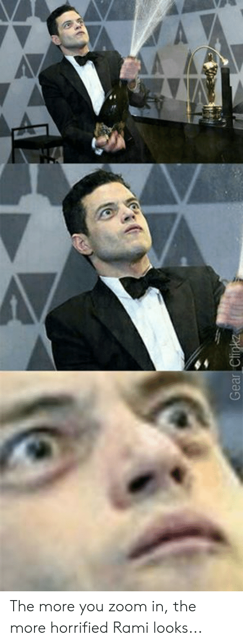 Dank, Zoom, and 🤖: The more you zoom in, the more horrified Rami looks...