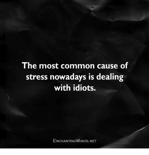 Memes, Common, and Idiot: The most common cause of  stress nowadays is dealing  with idiots.  ENCHANTING MINDs.NET