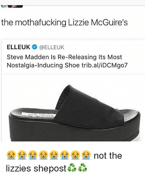 Memes, Nostalgia, and 🤖: the mothafucking Lizzie McGuire's  ELLEUK@ELLEUK  Steve Madden Is Re-Releasing Its Most  Nostalgia-Inducing Shoe trib.al/iDCMgo7 😭😭😭😭😭😭😭😭 not the lizzies shepost♻♻