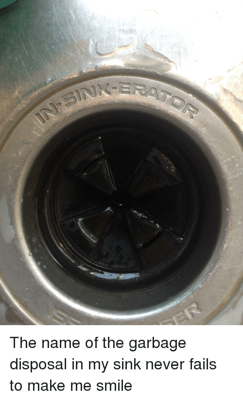 smile never and punny the name of the garbage disposal in my sink