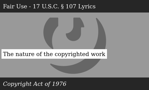 SIZZLE: The nature of the copyrighted work