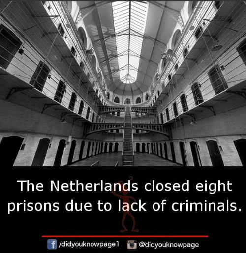 Memes, Netherlands, and 🤖: The Netherlands closed eight  prisons due to lack of criminals.  gj  /didyouknowpagel @didyouknowpage