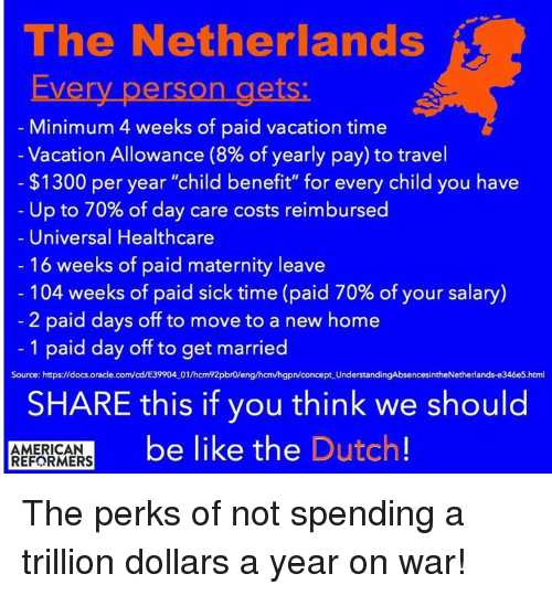 The netherlands every person gets minimum 4 weeks of paid vacation memes ups and american the netherlands every person gets minimum 4 weeks of sciox Choice Image
