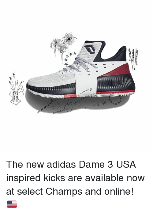 Adidas, Memes, and 🤖: The new adidas Dame 3 USA inspired kicks are available now at select Champs and online! 🇺🇸