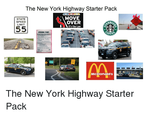 The New York Highway Starter Pack STATE SPEED LIMIT MOVE OVER It's