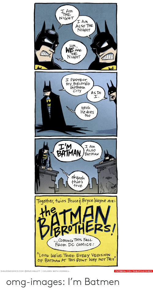 """Batman, Omg, and Tumblr: THE  NiGHT  ALSO THE  NiGHT  APE  NIGHT  PROTECT,  Wy BELOUED  OTHAM  yeah  he 4oes  too  I Am  ALso  BATMAN  okueah  thats  Together, twins Bruce i Bryce Nayne are:  th  BROTHERS/  Feom DC CoMics:  """"LOOK WE'VE TRIED EVERY VERSION ,  OF BATMAN AT THIS POINT WHy NOT THi s  SHELDONCOMICS.COM ⓒPAVE KELLETT 