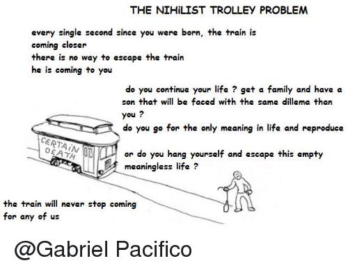 the nihilist trolley problem every single second since you were 17108235 the nihilist trolley problem every single second since you were,Why Was I Born A Train Meme Meaning