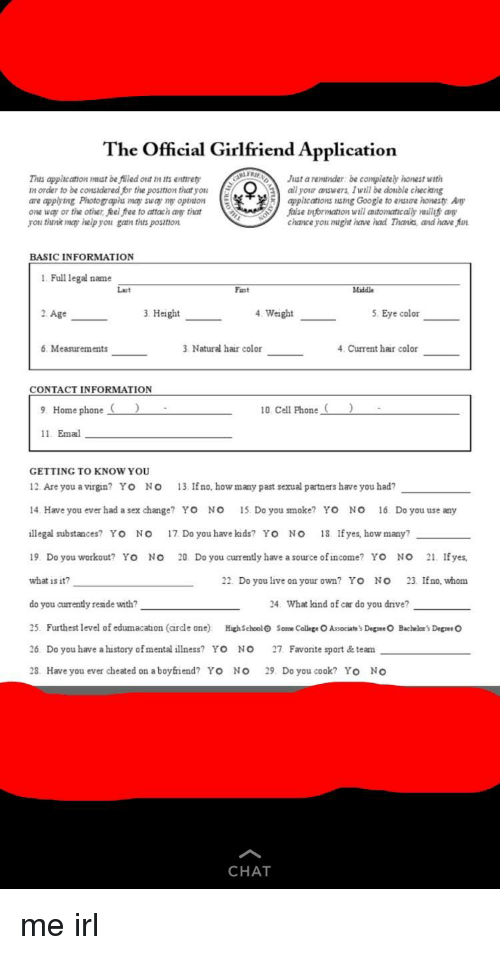 The Official Girlfriend Application This Appic Cation Mmist Be