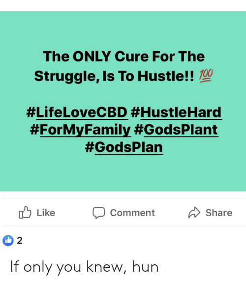Struggle, Cure, and You: The ONLY Cure For The  Struggle, Is To Hustle!!00  #LifeLoveCBD #HustleHard  #ForMyFamily #GodsPlant  #GodsPlan  Like  Share  Comment  2 If only you knew, hun