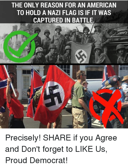 American, Proud, and Reason: THE ONLY REASON FOR AN AMERICAN  TO HOLD A NAZI FLAG IS IF IT WAS  CAPTURED IN BATTLE Precisely!  SHARE if you Agree and Don't forget to LIKE Us, Proud Democrat!