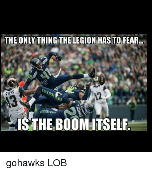 Seattle Seahawks, Seahawks, and Fear: THE ONLY THING THE LECION HASTO FEAR  THE BOOM:ITSELF gohawks LOB
