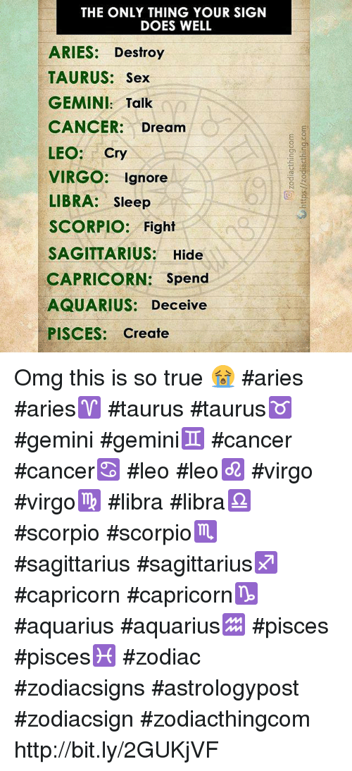 The ONLY THING YOUR SIGN DOES WELL ARIES Destroy TAURUS Sex GEMINI