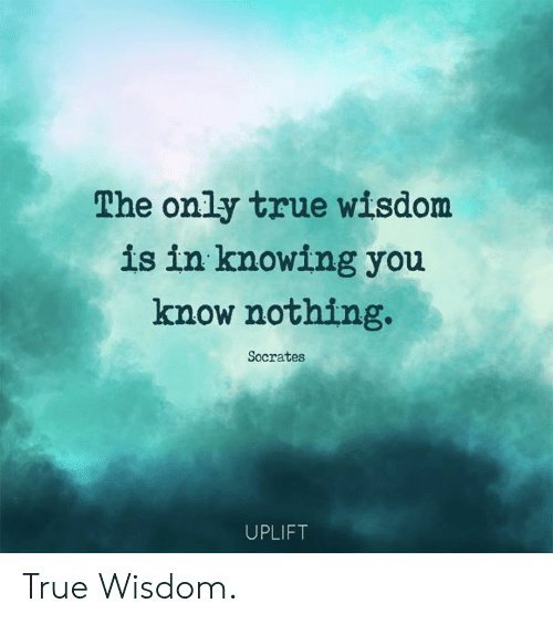 Memes, True, and Socrates: The only true wisdom  is in knowing you  know nothing.  Socrates  UPLIFT True Wisdom.