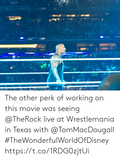 Memes, Wrestlemania, and Live: The other perk of working on this movie was seeing @TheRock live at Wrestlemania in Texas with @TomMacDougall #TheWonderfulWorldOfDisney https://t.co/1RDG0zjtUi