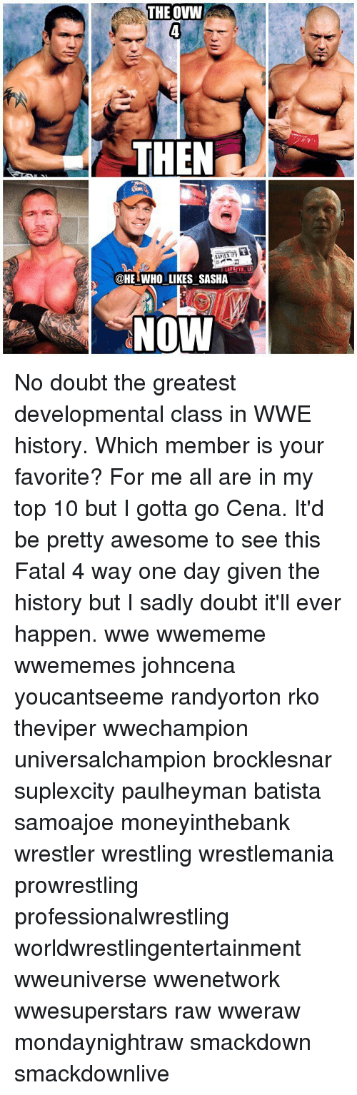 Memes, Wrestling, and World Wrestling Entertainment: THE OVW  THEN  @HET WHO LIKES SASHA  NOW No doubt the greatest developmental class in WWE history. Which member is your favorite? For me all are in my top 10 but I gotta go Cena. It'd be pretty awesome to see this Fatal 4 way one day given the history but I sadly doubt it'll ever happen. wwe wwememe wwememes johncena youcantseeme randyorton rko theviper wwechampion universalchampion brocklesnar suplexcity paulheyman batista samoajoe moneyinthebank wrestler wrestling wrestlemania prowrestling professionalwrestling worldwrestlingentertainment wweuniverse wwenetwork wwesuperstars raw wweraw mondaynightraw smackdown smackdownlive
