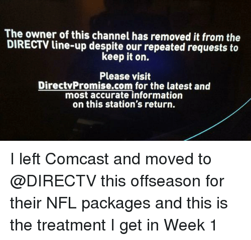 The Owner of This Channel Has Removed It From the DIRECTV Line-Up