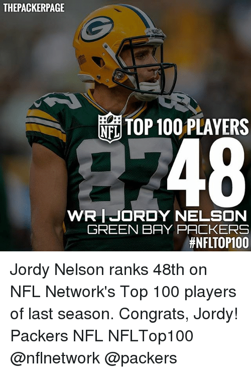 Anaconda, Green Bay Packers, and Memes: THE PACKERPAGE  TOP 100 PLAYERS  NEL  48  WRIJORDY NELSON  GREEN BAY PACKERS  thNFLTOP100 Jordy Nelson ranks 48th on NFL Network's Top 100 players of last season. Congrats, Jordy! Packers NFL NFLTop100 @nflnetwork @packers