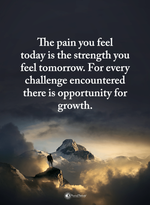 Memes, Opportunity, and Today: The pain you feel  today is the strength you  feel tomorrow. For everv  challenge encountered  there is opportunity for  growth