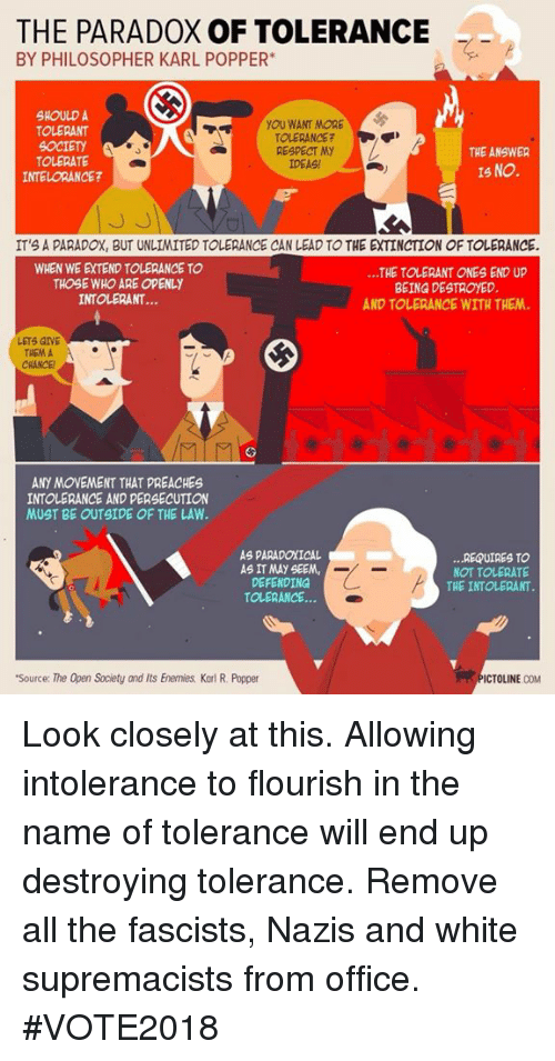 Respect, Office, and Paradox: THE PARADOX OF TOLERANCE  BY PHILOSOPHER KARL POPPER  SHOULD A  TOLERANT  OCIETY  TOLERATE  INTELORANCE?  YOU WANT MORE  TOLERANCE?  RESPECT MY  IDEAS!  THE ANSWER  IS NO.  3  IT'S A PARADOX, BUT UNLIMITED TOLERANCE CAN LEAD TO THE EXTINCTION OF TOLERANCE.  WHEN WE EXTEND TOLERANCE TO  THOSE WHO ARE OPENLY  INTOLERANT...  ...THE TOLERANT ONES END UP  BEING DESTROYED  AND TOLERANCE WITH THEM  LETS GIVE  THEM A  CRANCE  ANY MOVEMENT THAT PREACHES  INTOLERANCE AND PERSECUTION  MUST BE OUTSIDE OF THE LAW  AS PARADOXICAL  AS IT MAY SEEM,  DEFENDING  TOLERANCE...  ...REQUIRES TO  NOT TOLERATE  THE INTOLERANT  Source: The Open Society and Its Enemies Karl R. Popper  ICTOLINE COM Look closely at this. Allowing intolerance to flourish in the name of tolerance will end up destroying tolerance. Remove all the fascists, Nazis and white supremacists from office. #VOTE2018