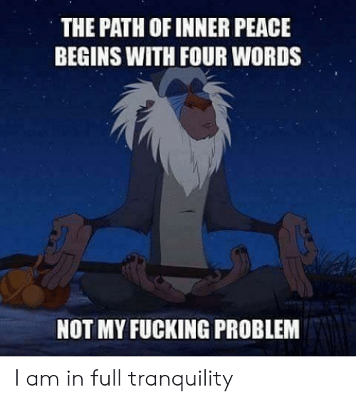 Fucking, Peace, and Words: THE PATH OF INNER PEACE  BEGINS WITH FOUR WORDS  NOT MY FUCKING PROBLEM I am in full tranquility