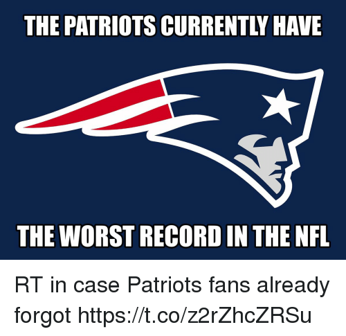 Football, Nfl, and Patriotic: THE PATRIOTS CURRENTLY HAVE  THE WORST RECORD IN THE NFL RT in case Patriots fans already forgot https://t.co/z2rZhcZRSu