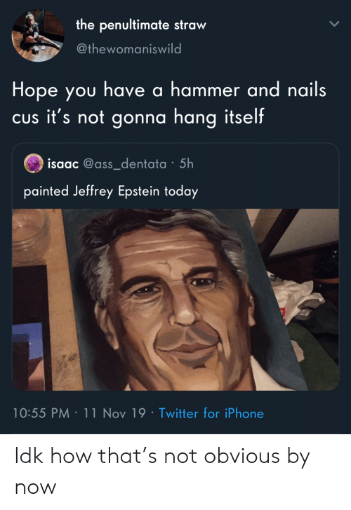 Iphone, Twitter, and Nails: the penultimate straw  @thewomaniswild  Hope you have a hammer and nails  CUs it's not gonna hang itself  isaac @ass_dentata 5h  painted Jeffrey Epstein today  10:55 PM 11 Nov 19 Twitter for iPhone Idk how that's not obvious by now