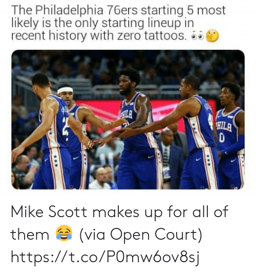 Philadelphia 76ers, Tattoos, and Zero: The Philadelphia 76ers starting 5 most  likely is the only starting lineup in  recent history with zero tattoos.  ILA  HILA Mike Scott makes up for all of them 😂  (via Open Court) https://t.co/P0mw6ov8sj