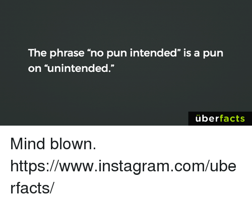 """Memes, 🤖, and Mind Blown: The phrase """"no pun intended"""" is a pun  on """"unintended.""""  uber  facts Mind blown. https://www.instagram.com/uberfacts/"""