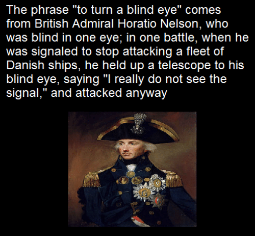 the phrase to turn a blind eye comes from british 8636647 the phrase to turn a blind eye comes from british admiral horatio