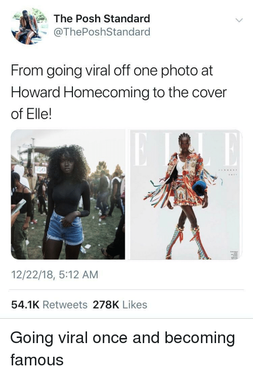 Once, One, and Homecoming: The Posh Standard  @ThePoshStandard  From going viral off one photo at  Howard Homecoming to the cover  of Elle!  12/22/18, 5:12 AM  54.1K Retweets 278K Likes Going viral once and becoming famous