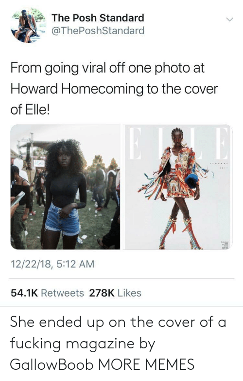 Dank, Fucking, and Memes: The Posh Standard  @ThePoshStandard  From going viral off one photo at  Howard Homecoming to the cover  of Elle!  12/22/18, 5:12 AM  54.1K Retweets 278K Likes She ended up on the cover of a fucking magazine by GallowBoob MORE MEMES