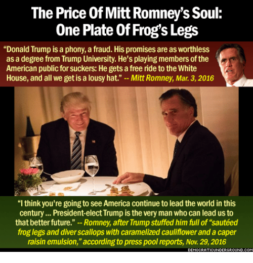 the price of mitt romneys soule one plate of frogs 7755082 the price of mitt romney's soule one plate of frog's legs donald