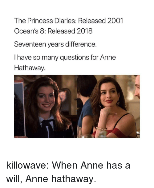 Target, Tumblr, and Anne Hathaway: The Princess Diaries: Released 2001  Ocean's 8: Released 2018  Seventeen years difference.  I have so many questions for Anne  Hathaway.  2 killowave: When Anne has a will, Anne hathaway.