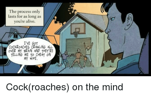 Alive, Brain, and Wife: The process only  lasts for as long as  you're alive.  'VE GOT  COCKROACHES CRAWLING ALL  OVER MY BRAIN AND THEY RE  TELLING ME TO CHEAT ON  MY WIFE Cock(roaches) on the mind