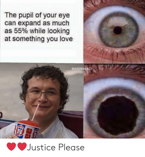 Love, Eye, and Looking: The pupil of your eye  can expand as much  as 55% while looking  at something you love  @SUPERNOVAJAZZY ❤️❤️Justice Please